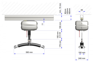 OpeMed OT 200 Ceiling Hoist Dimensions