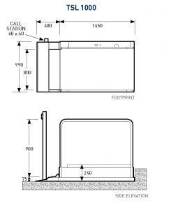 MMS Medical TSL 1000 Terry Step Lift Dimensions