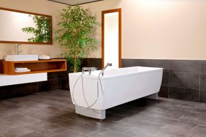 The modern, elegant and timeless tub shape of the Avero Comfort from MMS Medical fits unobtrusively in your new nursing bathroom and gives your residents, ...